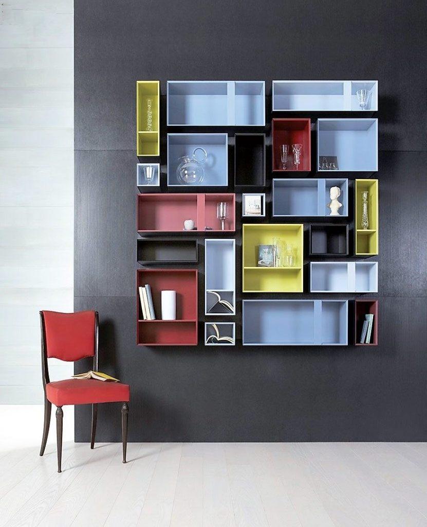 12種牆面裝飾物件:彩色層架